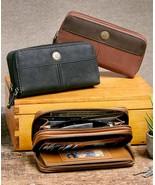 Leather Organizer Wallet Stone Mountain Double Zip Around Cognac Brown o... - $26.95