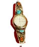 SHARP STERLING SILVER TURQUOISE & CORAL LADIES WATCH (WORKS!) - $159.00