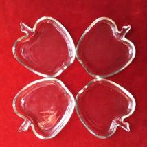 SET OF FOUR VINTAGE HAZEL ATLAS APPLE SHAPE SNACK BUTTER OR JEWELRY GLAS... - $20.33