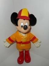 Vintage Disney Applause Mickey Mouse Firefighter Fireman Vinyl Plush Toy... - $19.99