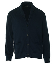 Polo Ralph Lauren Mens Fleece Cardigan Navy Blue Button-Down Shirt XL 38... - $58.80