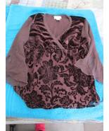 Worthington Velvet Burnout Shirt Brown Long Sleeve Size L Runs Small - $9.99