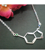 Serotonin Molecule Silver Necklace - Science Serotonin or Happiness Mole... - $42.00