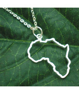 Silver Outline Africa Map Necklace Pendant - $45.00