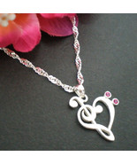 Treble & Bass Clef Heart Necklace - Sterling Silver - Heart Music Note N... - $39.00