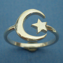 Half Moon and Star Ring in Sterling Silver - US 3 - 13 - $30.00
