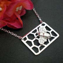 Honey Bee Necklace - Honeycomb Necklace - Bee Jewelry - $50.00