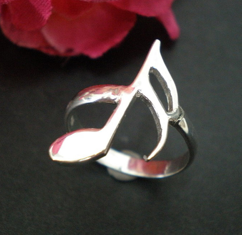 Semiquaver Sixteenth Note Ring - Musical Symbol Note Jewelry
