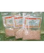 4mm ROUND BEADS THE BEADERY PLASTIC IVORY PEARL 3 PACKAGES 1,740 COUNT - $5.95