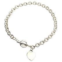 Tiffany & Co.Argento Sterling 925 Cuore Medaglietta Ciondolo a Collana 41.9cm - $354.60