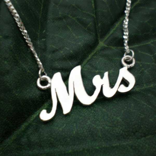 Silver Mrs Necklace - Just Married Necklace