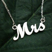 Silver Mrs Necklace - Just Married Necklace - $39.00