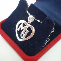 MJ In The Heart Letters Initial Silver Pendant Necklace - $27.00