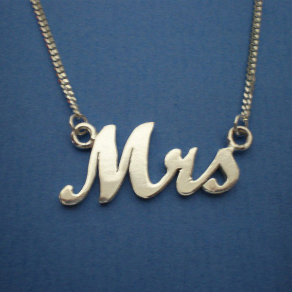 Silver Mrs Necklace - Just Married Necklace image 2