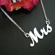 Silver Mrs Necklace - Just Married Necklace image 3