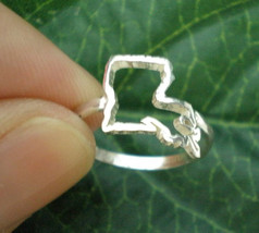 Lousiana State Silver Ring - Lousiana Outline Map Ring United States - C... - $35.00