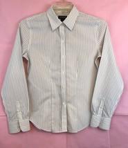 Ann Taylor Black White Striped Long Sleeve Button Down Blouse Size 8 - $13.10