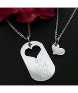 Dog Tag Father and Daughter Necklace Set - Engraving, Personalized Name ... - $59.00