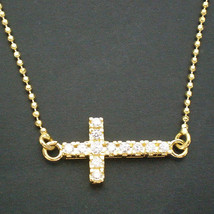 Horizontal Silver Sideway Cross Pendant Necklace - Celebrity Inspired Ye... - $34.00