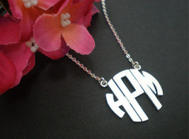 Circle Monogram Necklace Personalize Monogram 3 Letters Necklace - $49.00