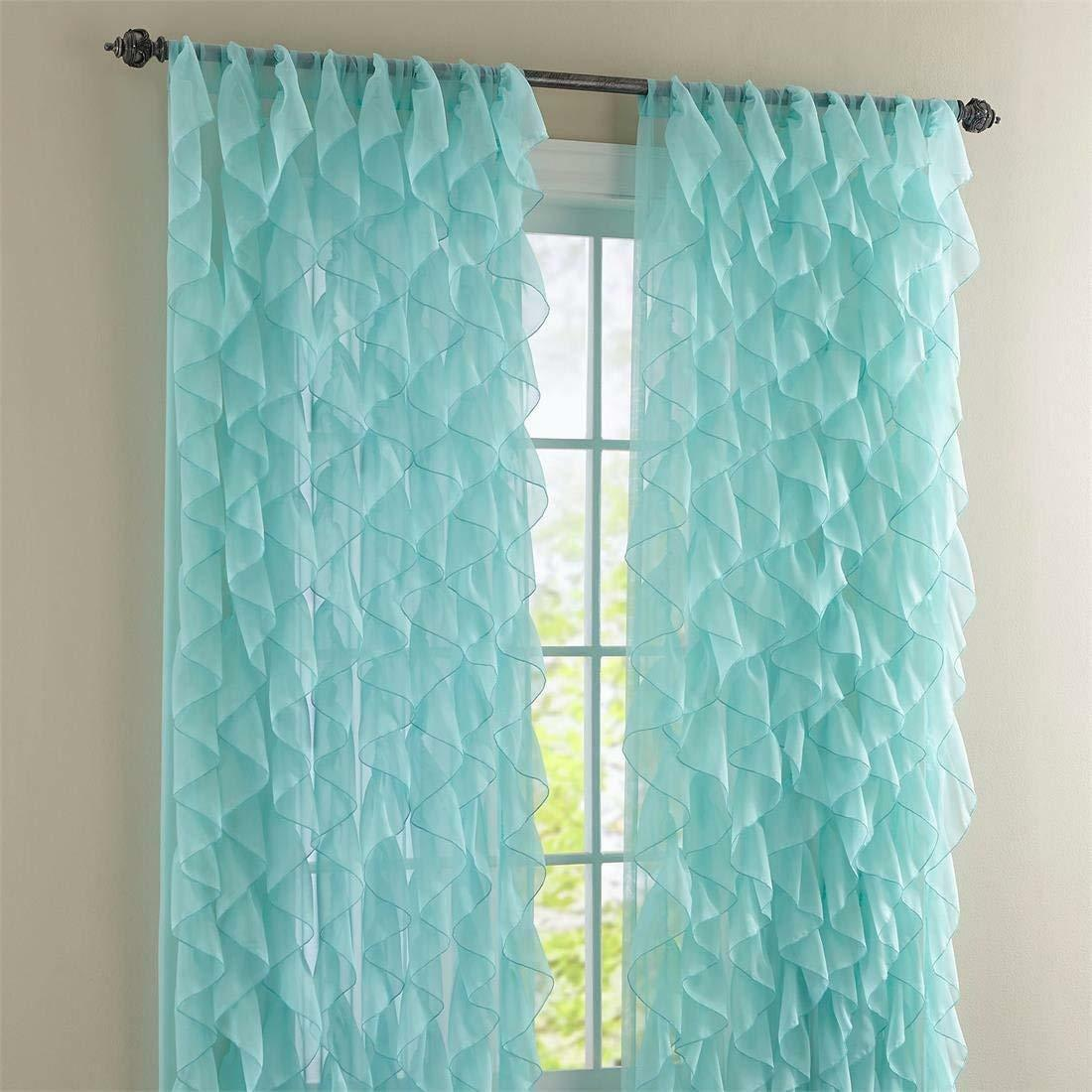"Primary image for Cascade Shabby Chic Ruffled Curtain Panel, 50"" wide by 63"" long, Sea, Lorraine"
