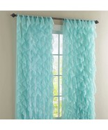 "Cascade Shabby Chic Ruffled Curtain Panel, 50"" wide by 63"" long, Sea, Lo... - $28.49"