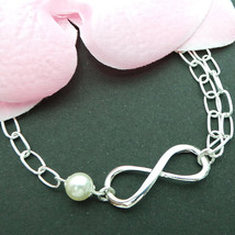 Pearl Infinity Silver Bracelet - Best Friend Gift, Birthday Gift, Christ... - $52.00