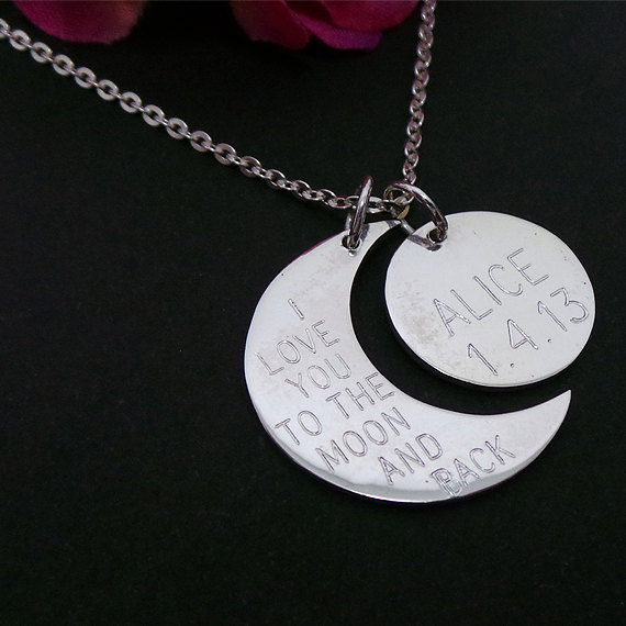Personalized Half Moon & Crescent Moon Necklace