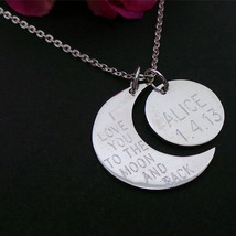 Personalized Half Moon & Crescent Moon Necklace - $70.00
