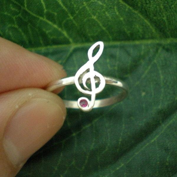 Music Treble Clef G-Clef Ring
