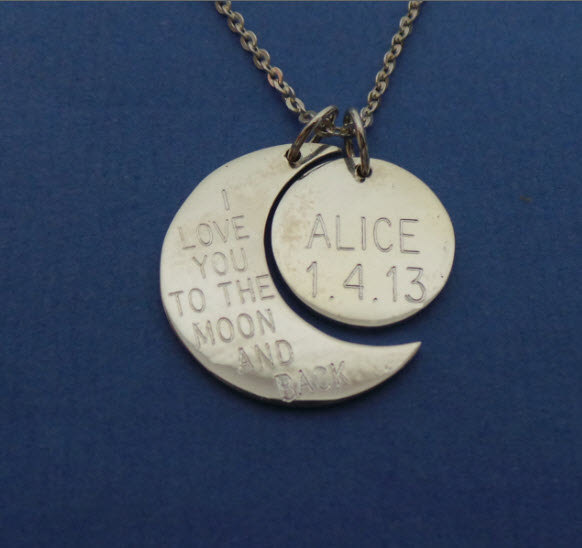 Personalized Half Moon & Crescent Moon Necklace image 2