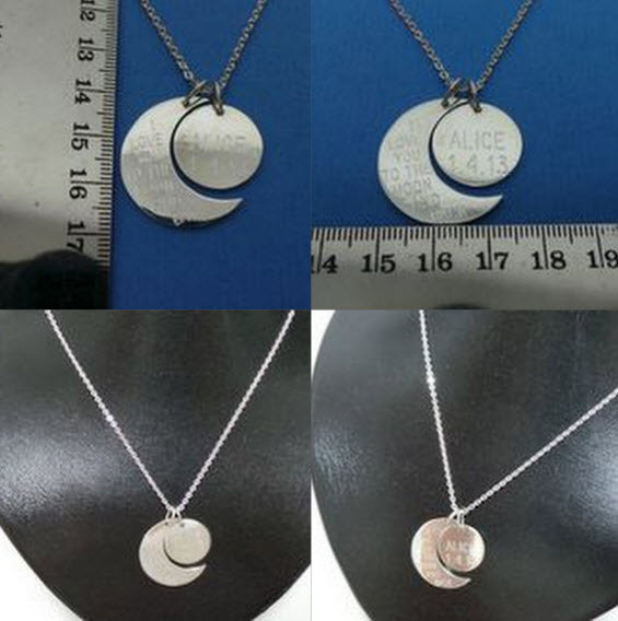 Personalized Half Moon & Crescent Moon Necklace image 3