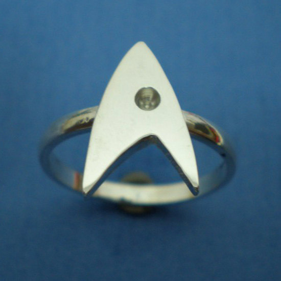 Sterling Silver Trek Engagement Ring - Geek Nerd - Star Trek Fans