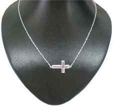 Sideways Cross Necklace Horizontal Choker in Silver - $40.00