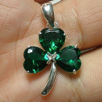 Irish Green Silver Shamrock Necklace - Three Leaf Clover Necklace image 1