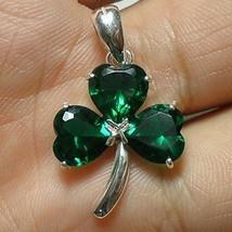 Irish Green Silver Shamrock Necklace - Three Leaf Clover Necklace - $35.00