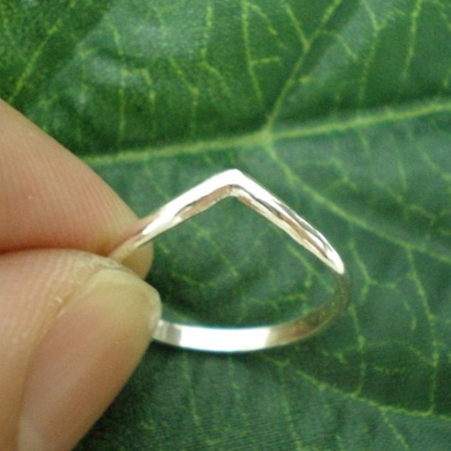 Set of 3 Chevron Rings - Sterling Silver