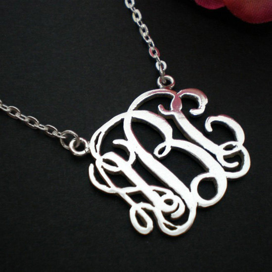 Personalized Monogram Necklace Choker - Silver Sterling - Bridesmaids Wedding