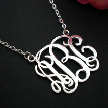 Personalized Monogram Necklace Choker - Silver Sterling - Bridesmaids Wedding - $47.00