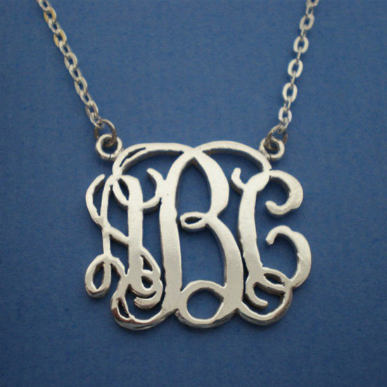 Personalized Monogram Necklace Choker - Silver Sterling - Bridesmaids Wedding image 2