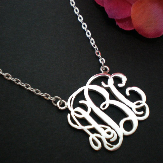 Personalized Monogram Necklace Choker - Silver Sterling - Bridesmaids Wedding image 4