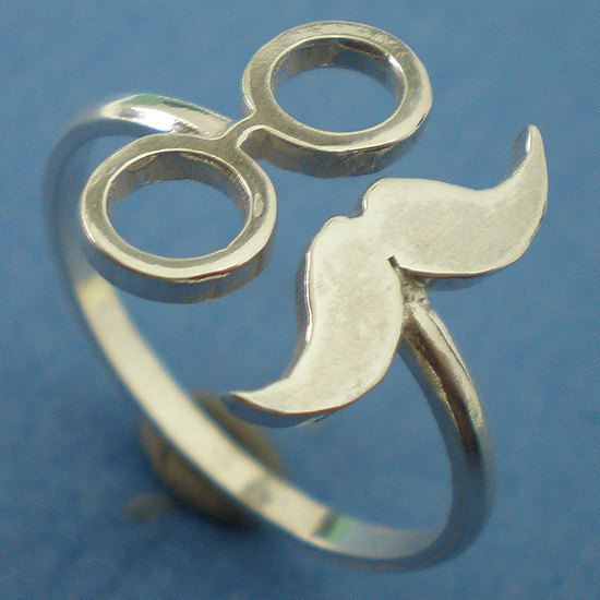 Moustache Glasses Movember Mustache Ring - Sterling Silver - November