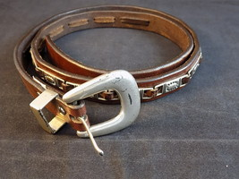 WOMEN'S BELT by FOSSIL FASHION LEATHER BELT w/ Silver Accents and Buckle... - £7.67 GBP