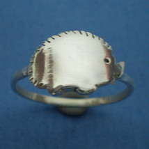 Hedgehog Silver Ring - Size US 3 - 13  Cute Kawaii - $26.00
