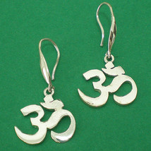 OM OHM AUM Yoga Hindu Chakra Meditation Silver Earring - $25.00
