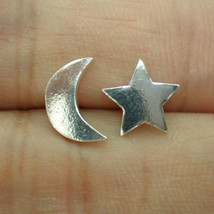 Moon and Star Silver Ear Stud - Earring - $30.00