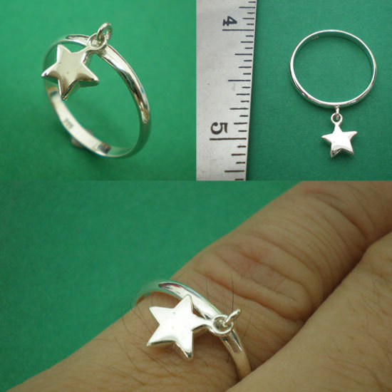 Twinkle Twinkle Little Star Dangle 925 Silver Charm Ring Band Size US 3 - 13 Eng