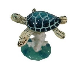 December Diamonds BLUE SEA TURTLE on CORAL FIGURINE Very Detailed Home D... - $9.17