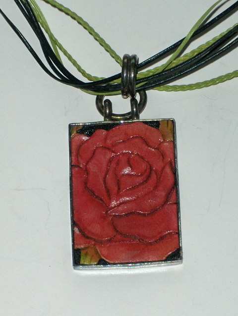 Sterling Silver Wooden Rose Necklace 925 PB