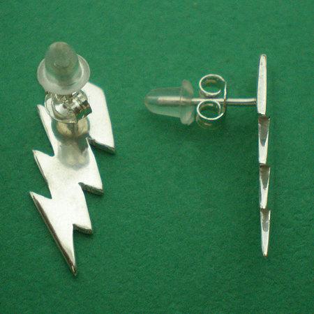 Lightning Bolt Thunder Storm  Zap 925 Sterling Silver Earring Earing Stud